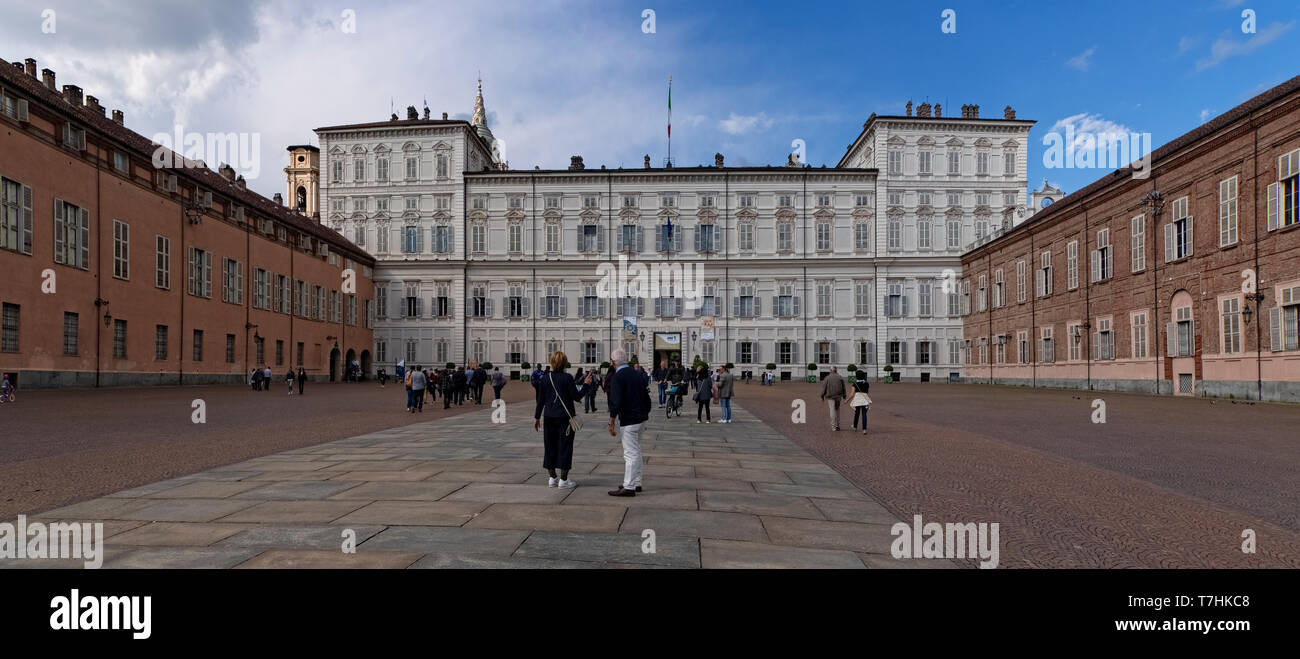 Italy Piedmont Turin, Piazzetta reale with Palazzo Reale -  Panoramic Photo - Stock Image
