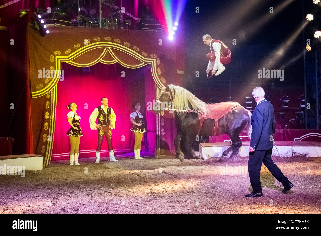 Performer jumping on the back of a Russian Heavy Draft Horse during an show at the circus Louis Knie junior, Austria - Stock Image