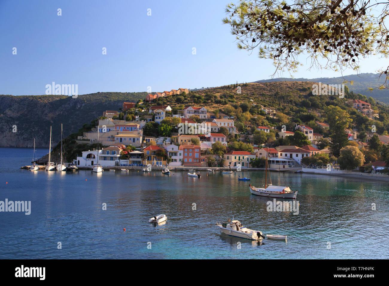 Greece, Ionian Islands, Kefalonia, Fiscardo Vilage - Stock Image