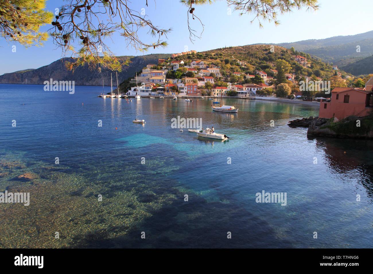 Greece, Ionian Islands, Kefalonia, Myrtos Beach - Stock Image