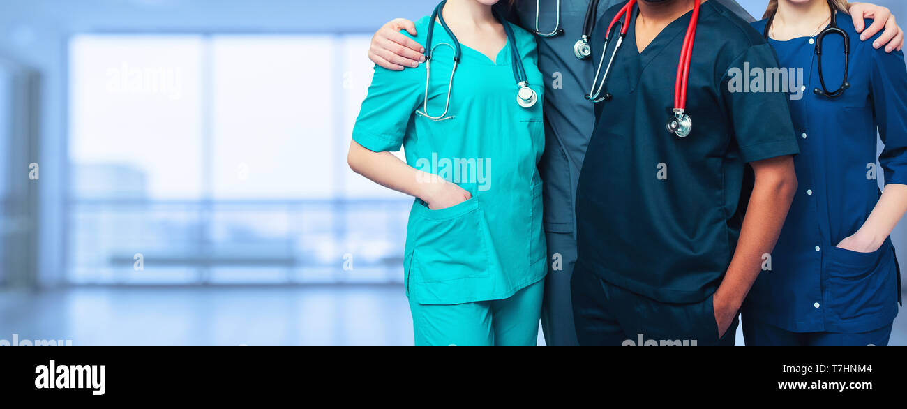 medicine. multinational people - doctor, nurse and surgeon. a group of faceless doctors. medical advertisement design. background wide promotional ban - Stock Image