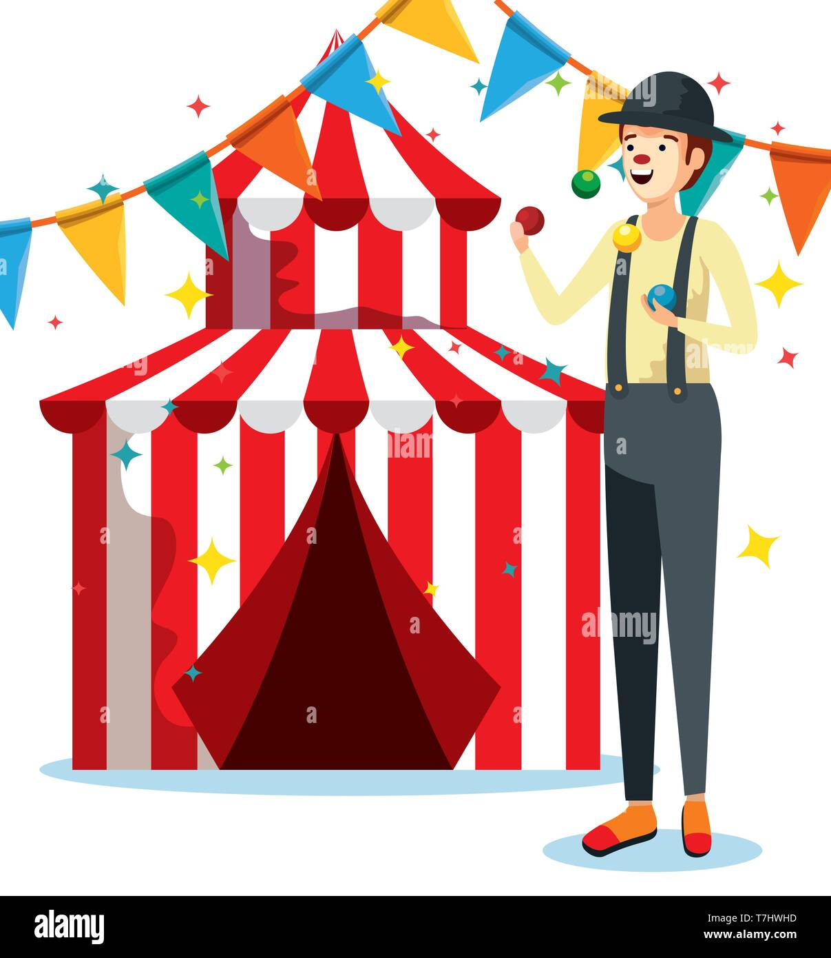 man mime costume with circus and party banner - Stock Image