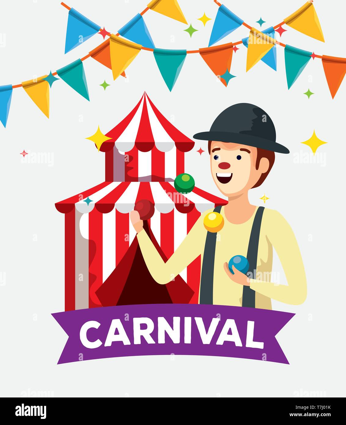 man mime costume with party banner and circus - Stock Image