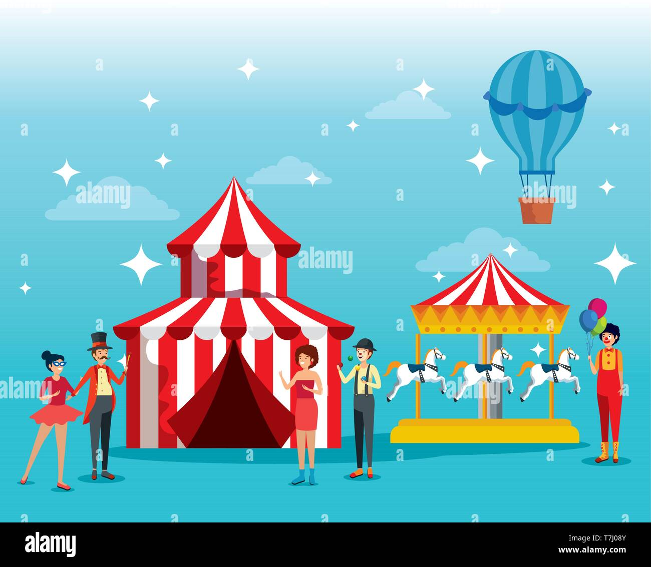 festival people costume with circus and horses carousel machine - Stock Image
