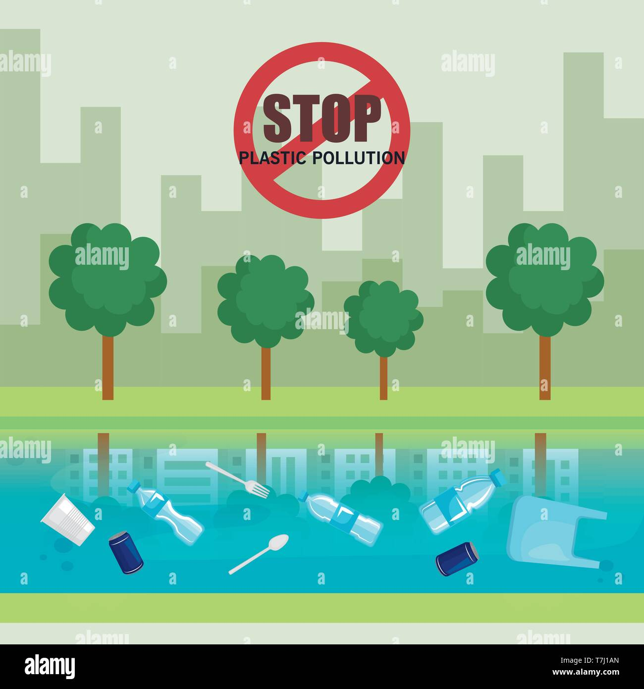 plastics waste pollution in the river and city - Stock Vector
