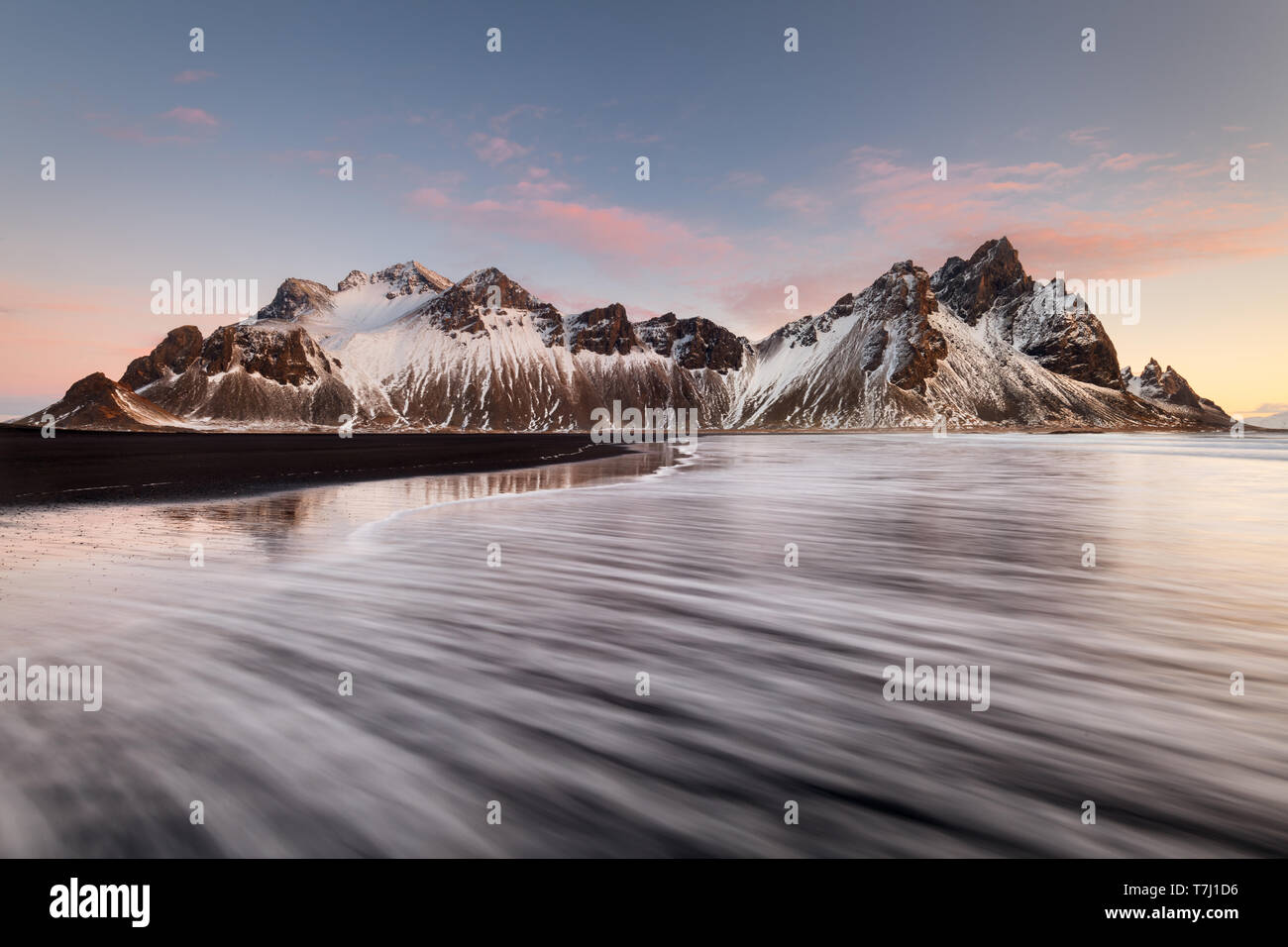 Famous Vestrahorn in the first light of the day. Stock Photo