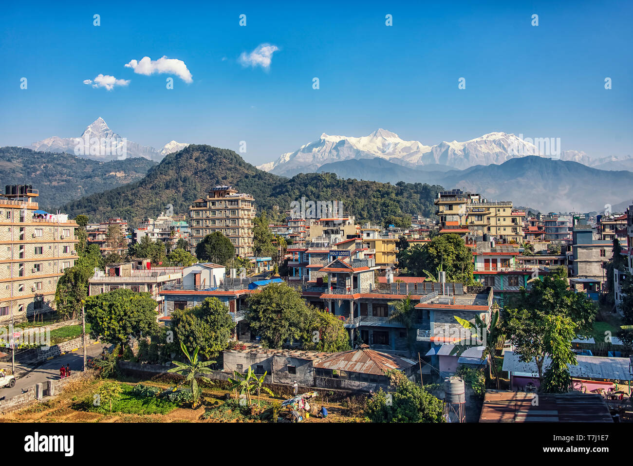 Himalaya mountain range viewed from Pokhara city - Stock Image