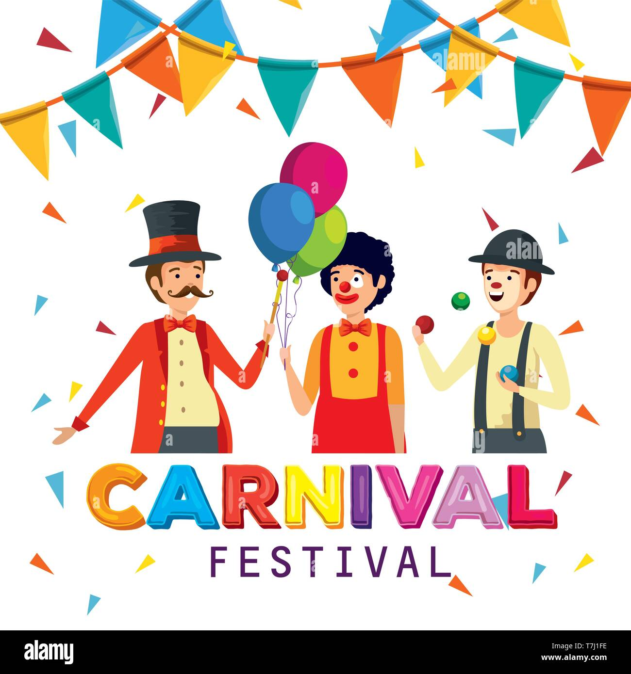 magician with clown and mime to carnival celebration with party banner - Stock Image