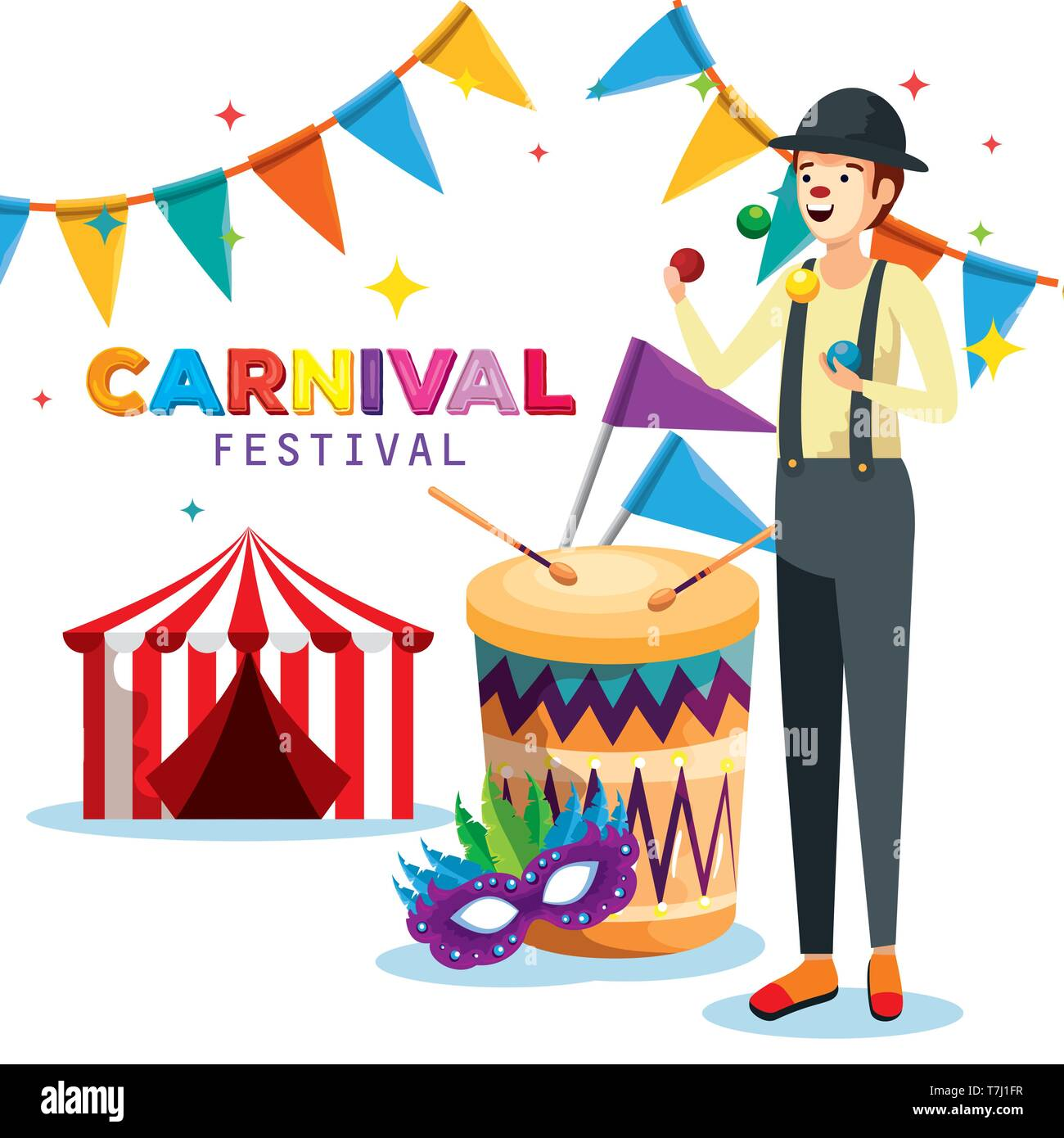 man mime with drum and party banner with circus and mask - Stock Image