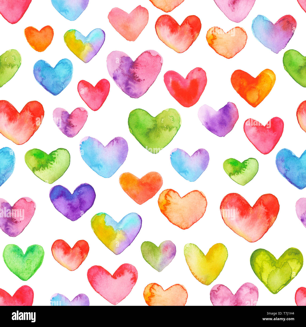 Watercolor Heart Pattern Seamless Hearts Background Day