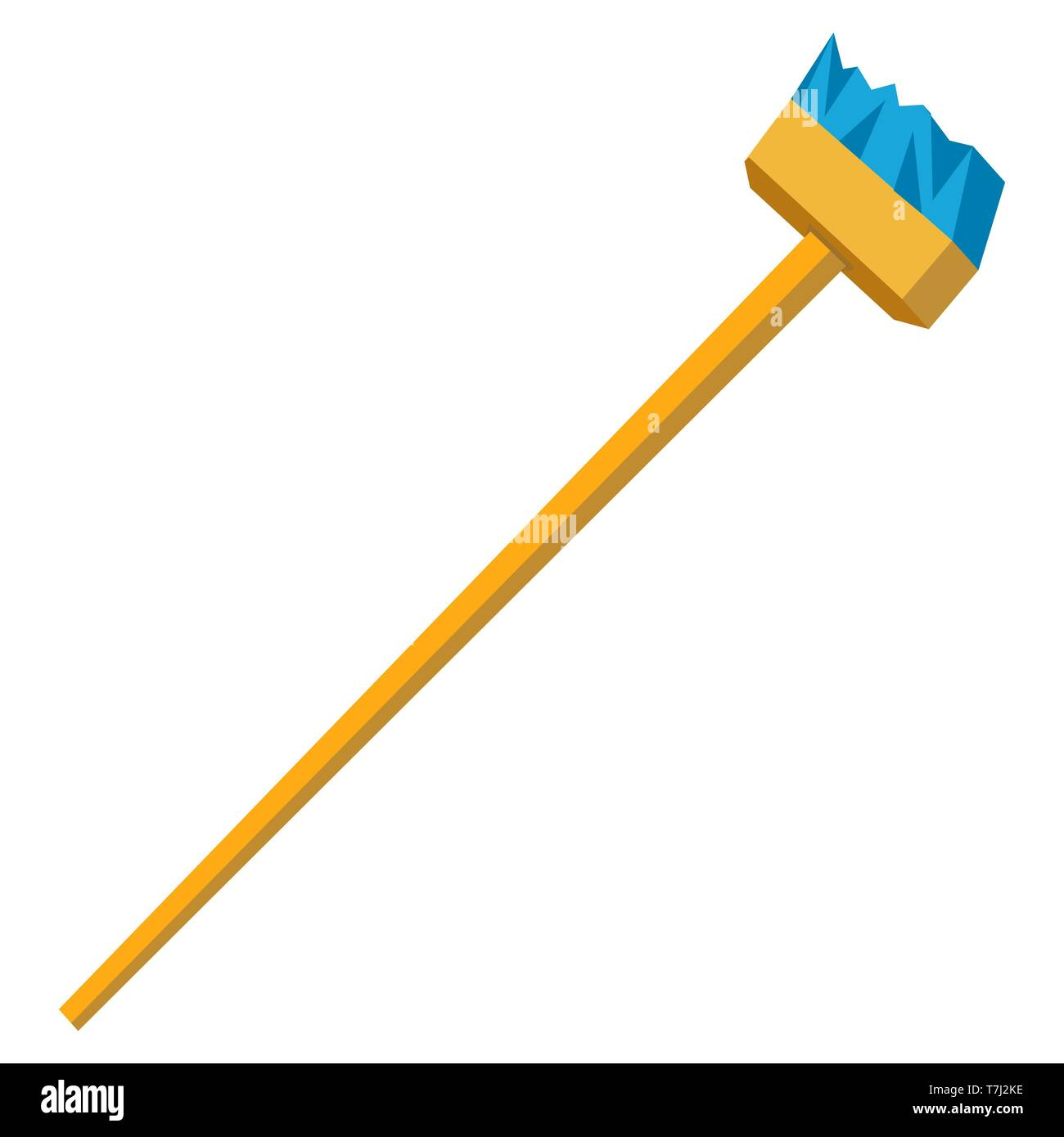 Vector funny cartoon illustration of mop and broom isolated. Cleaning symbols flat - Stock Vector