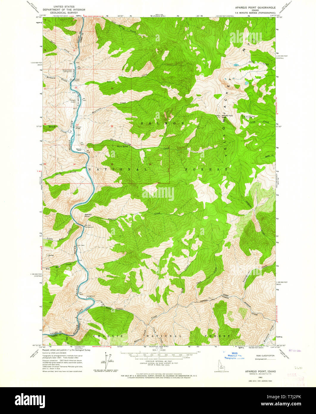 USGS TOPO Map Idaho ID Aparejo Point 235098 1963 24000 ...