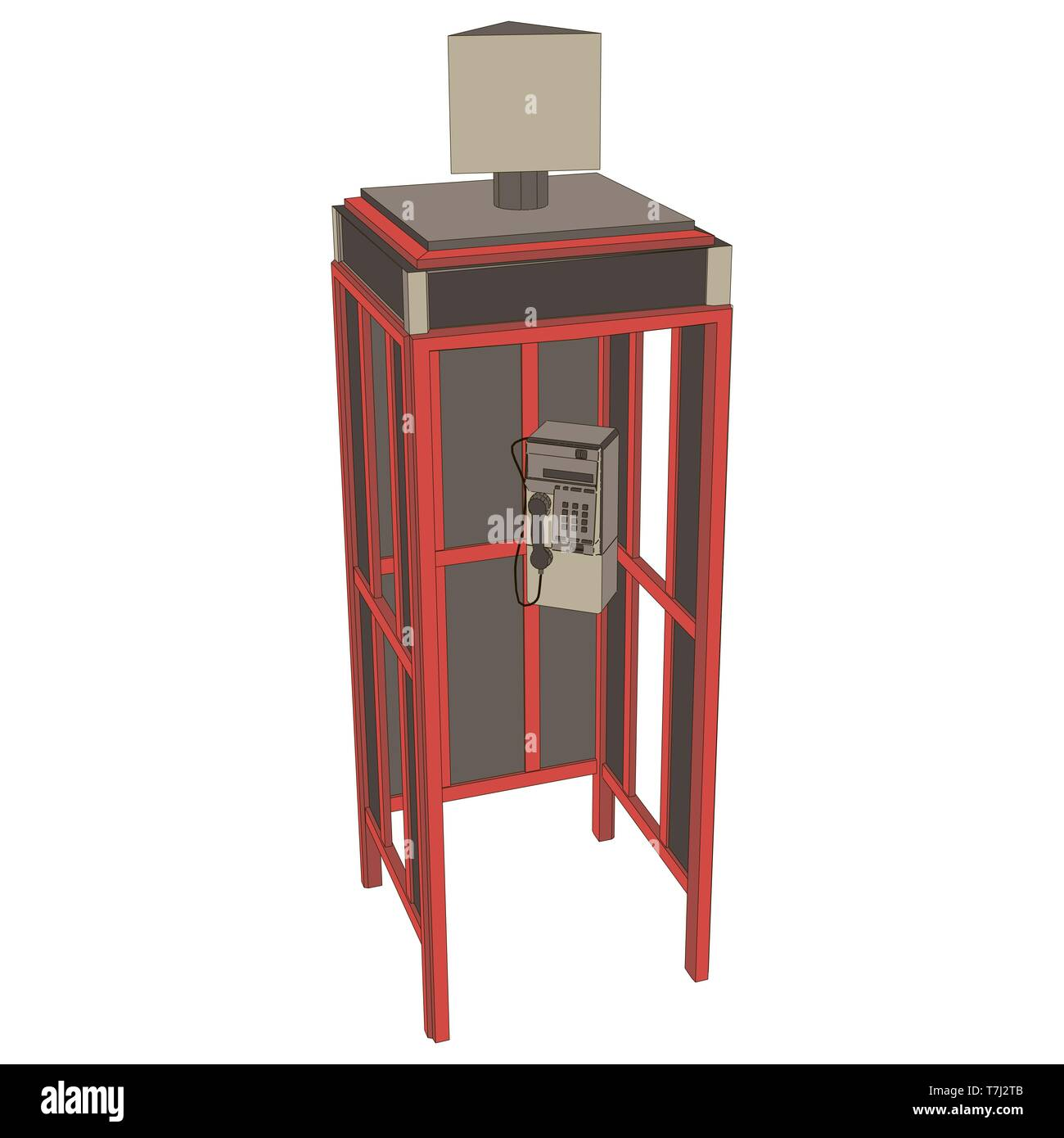 Phone booth telephone London vector box red illustration English icon England old isolated - Stock Image