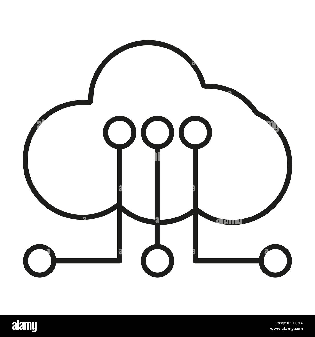 Icon line icons outline cloud set server web  Vector