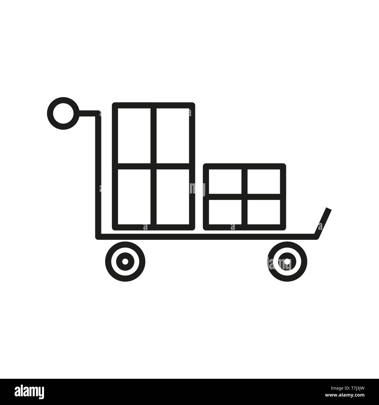 Cart icon shopping outline vector line shop. Web online buy commerce illustration thin. Store market linear - Stock Image
