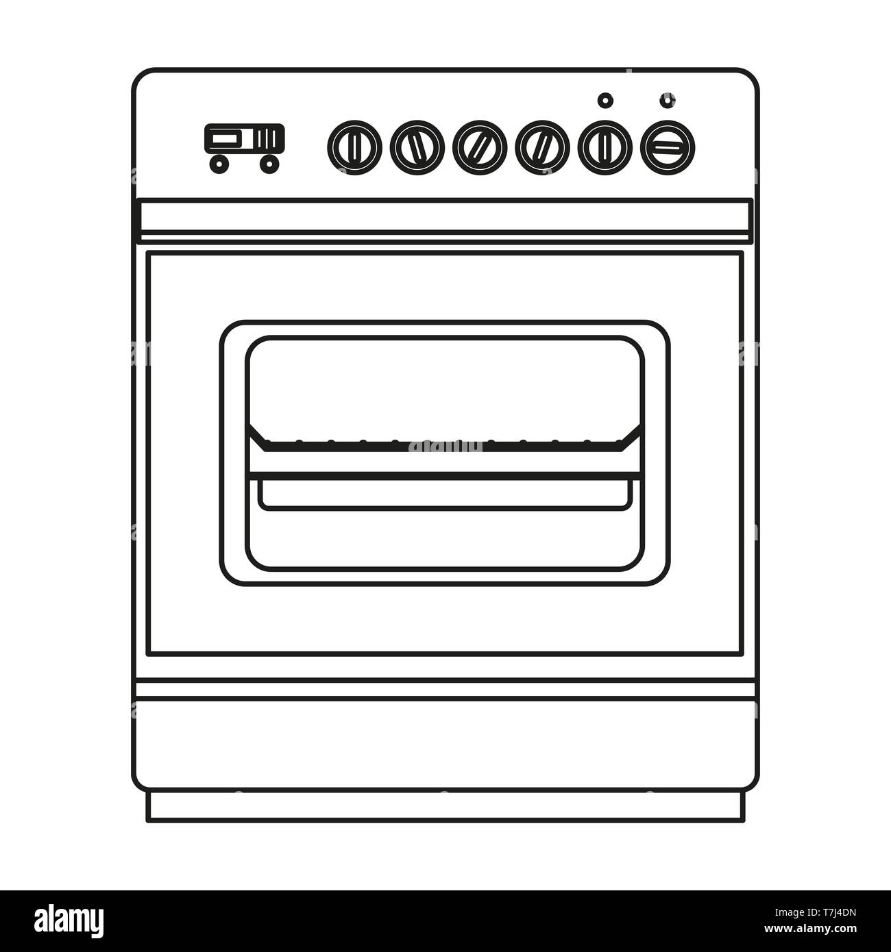 Stove line icon isolated on white background. Outline thin equipment pictogram vector. - Stock Image
