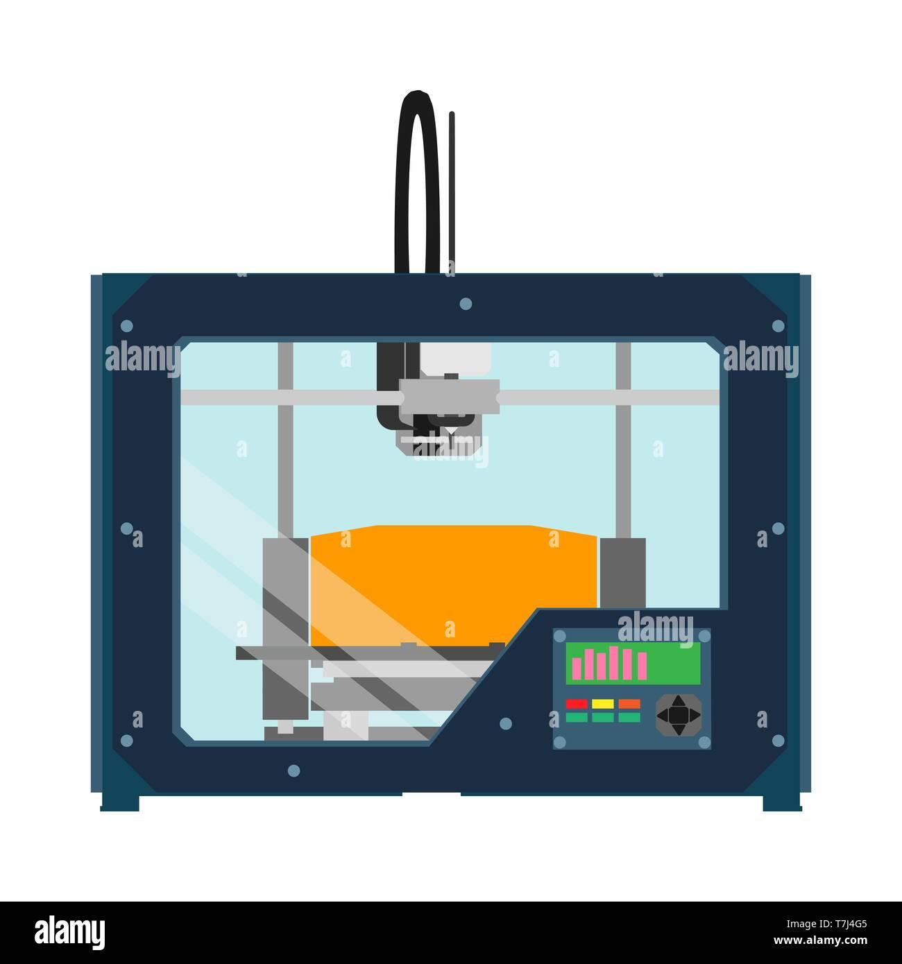 3D printer equipment industrial device tool. Flat vector icon machine - Stock Vector