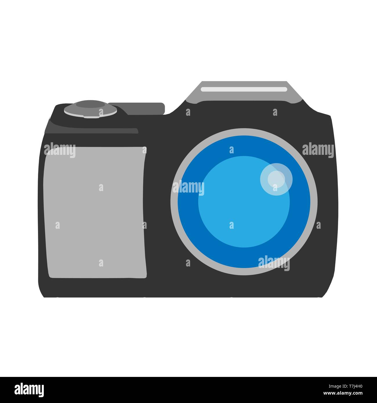 Photo camera front view photography sign. Flat vector device icon - Stock Vector