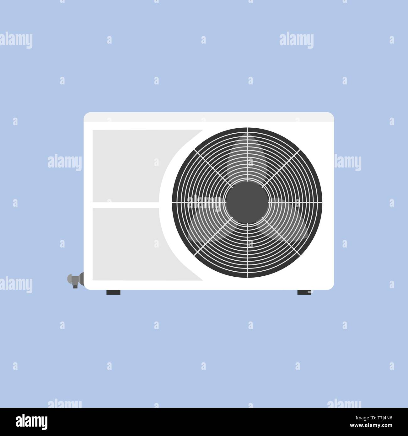 Condition unit technology air vent compressor isolated on white flat icon - Stock Vector