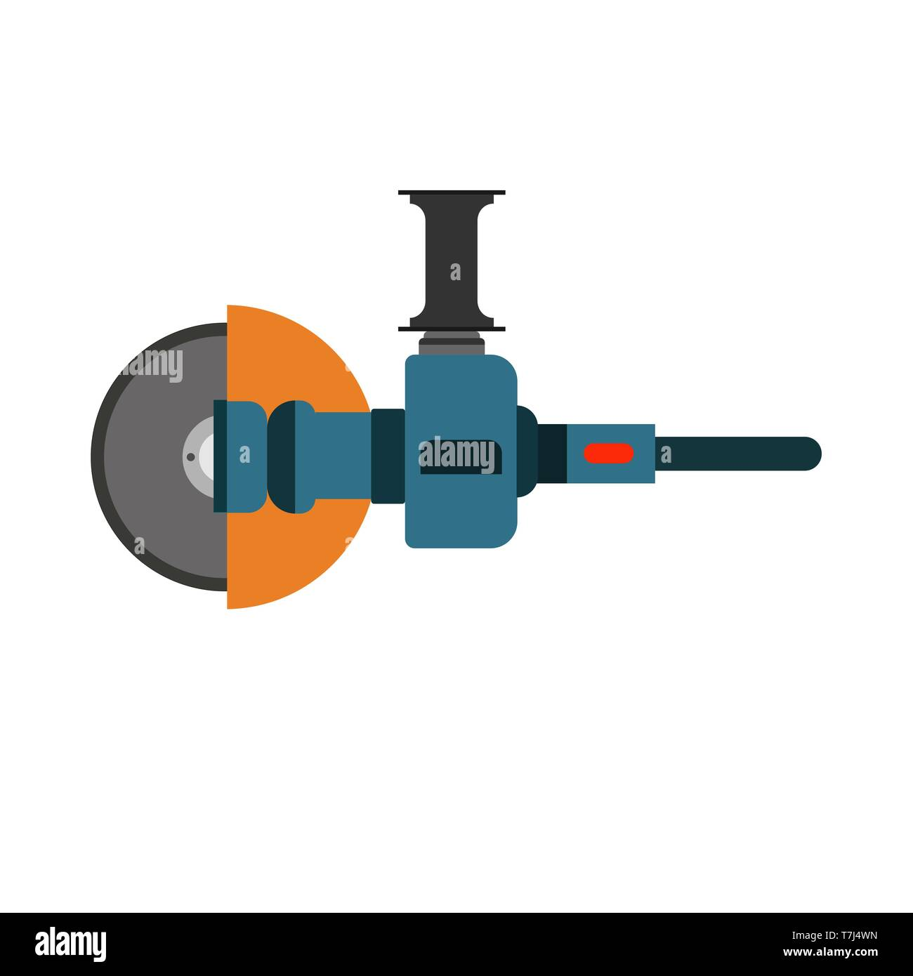 Angle grinder hand technology manufacturing circular tool. Construction flat equipment factory - Stock Vector