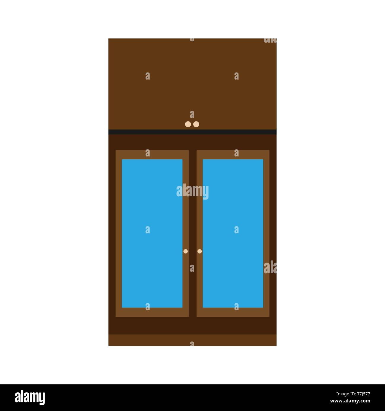 Cabinet apartment equipment isolated box. Interior simple vintage loft contemporary wood icon vector. Stock Vector