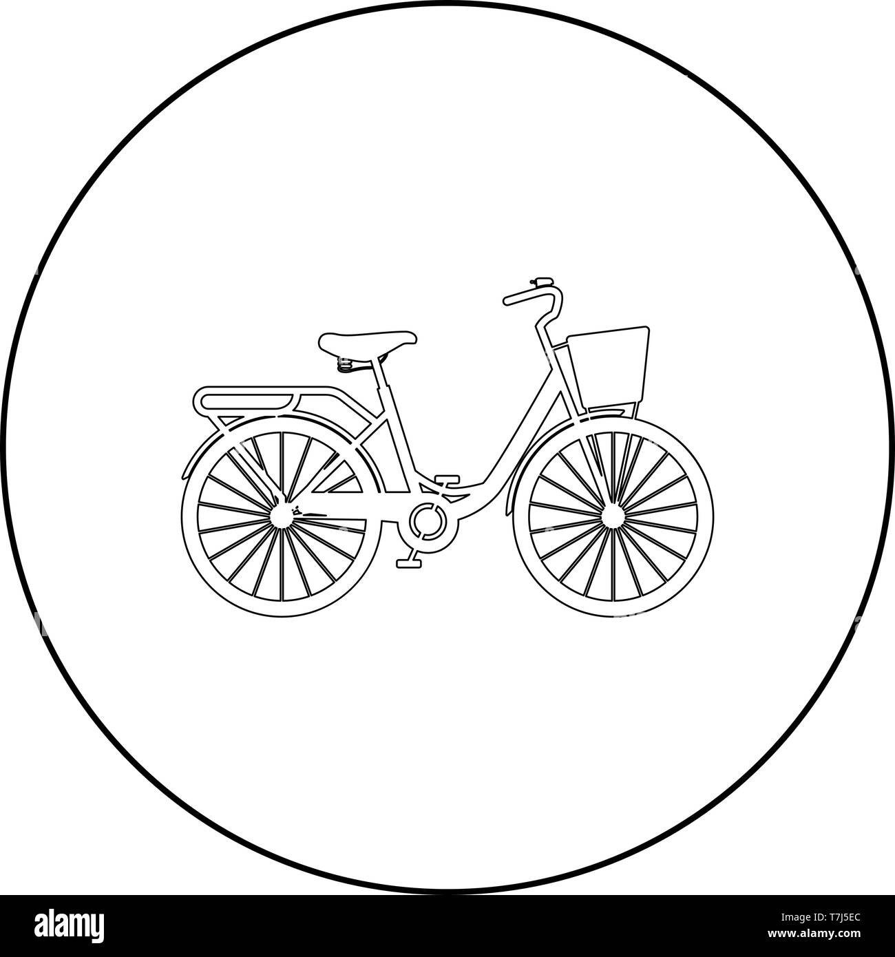 Woman's bicycle with basket Womens beach cruiser bike Vintage bicycle basket ladies road cruising icon in circle round outline black color vector - Stock Image