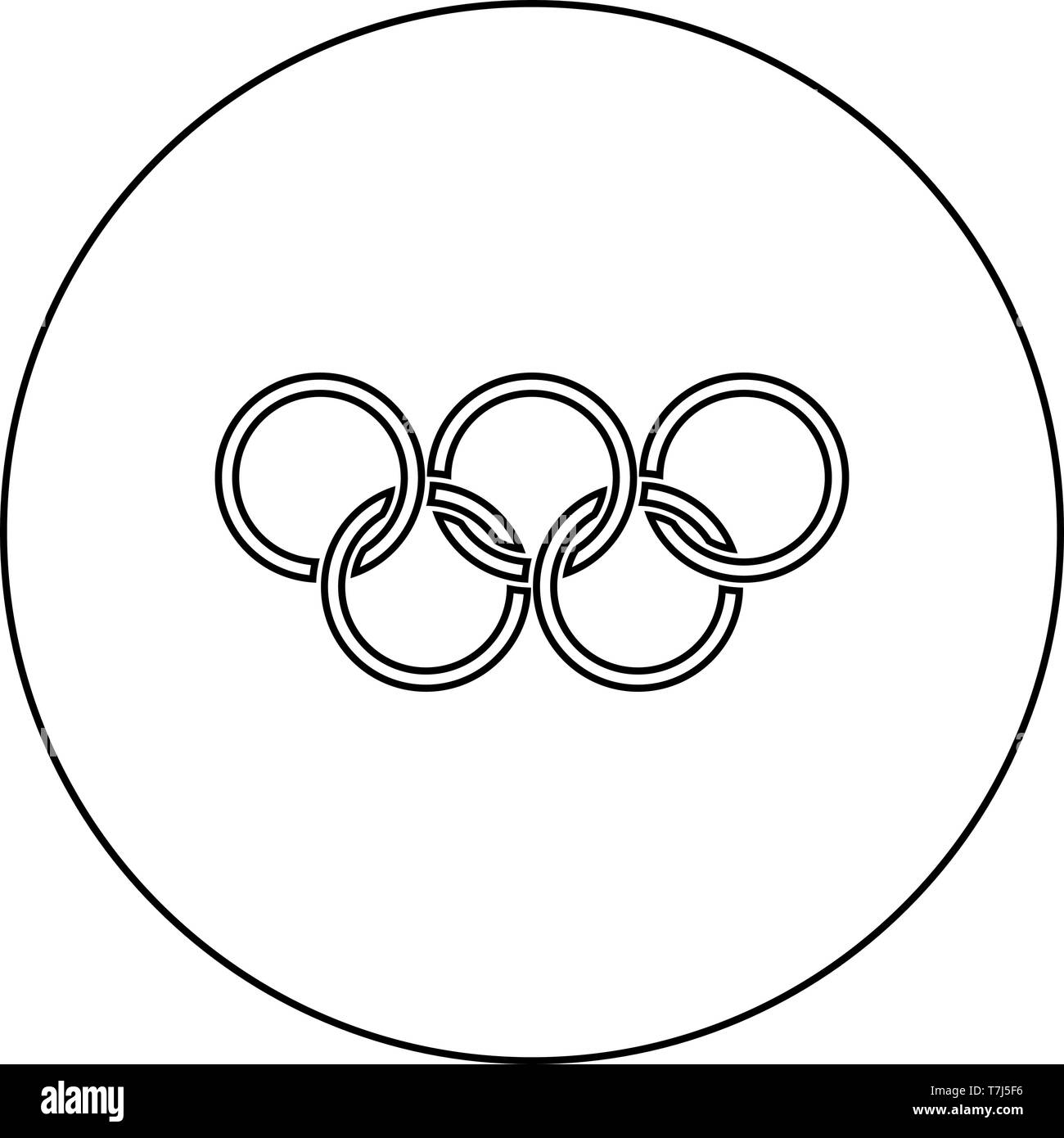 Olympic rings Five Olympic rings icon in circle round outline black color vector illustration flat style simple image - Stock Vector