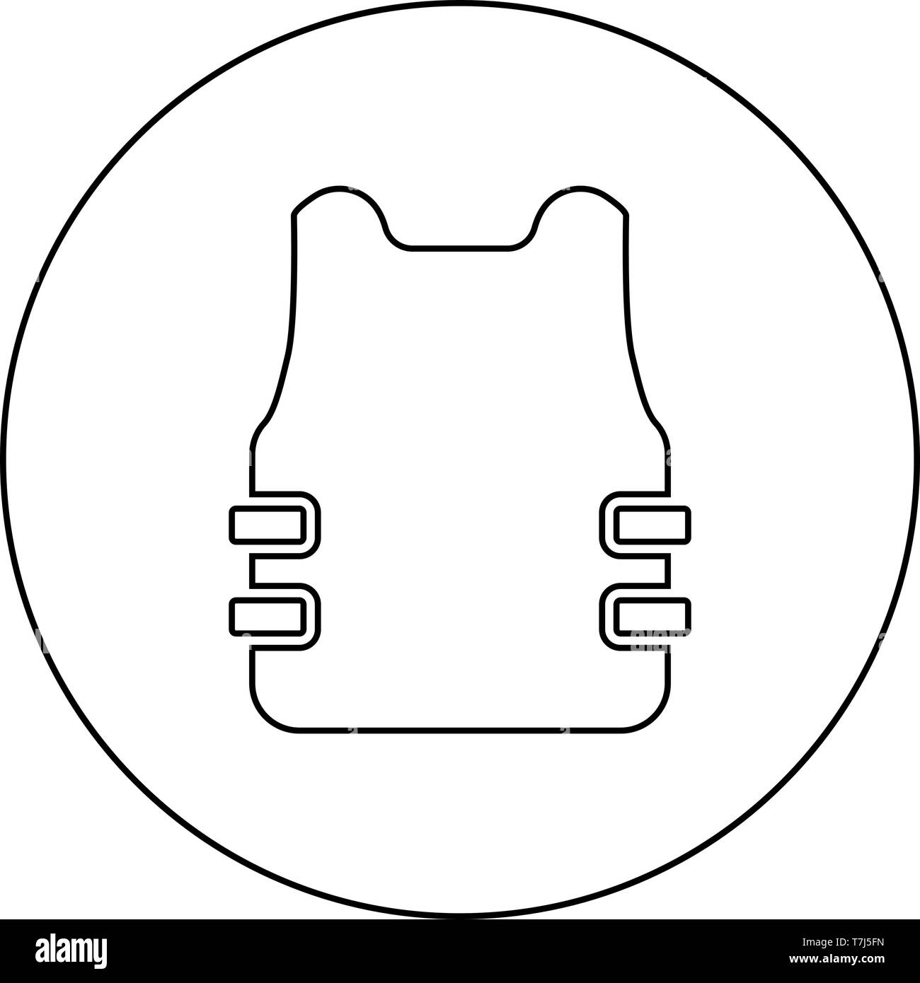 Bullet-proof vest flak jacket icon in circle round outline black color vector illustration flat style simple image - Stock Image