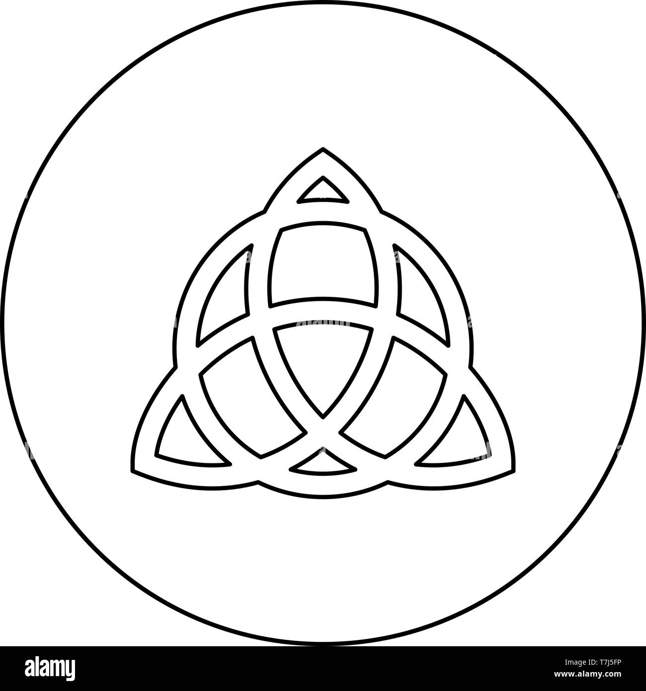 Trikvetr knot with circle Power of three viking symbol tribal for tattoo Trinity knot icon in circle round outline black color vector illustration - Stock Vector