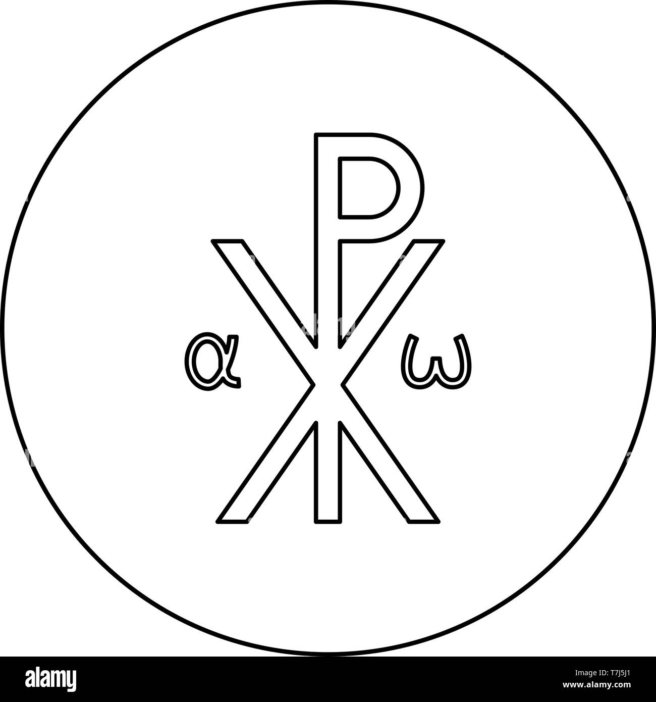 Crismon symbol Cross monogram Xi Hi Ro Konstantin Symbol Saint Pastor sign Religious cross Alfa Omega icon in circle round outline black color vector - Stock Vector