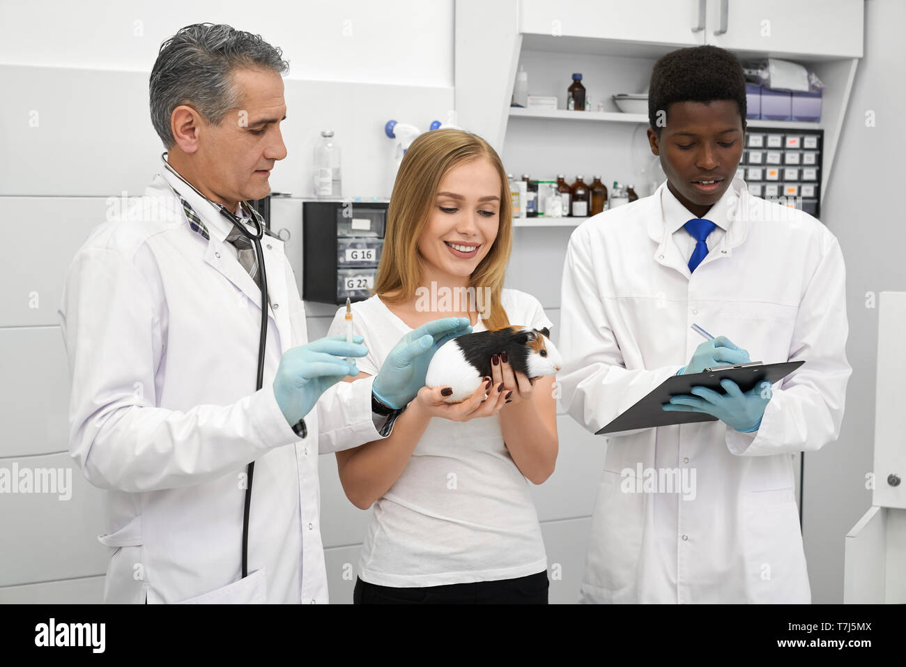 Professional veterinarian doing injection, using needle whlile beautiful woman holding hamster in hands. African young assistant writing in folder. Doctors in medical gowns and gloves. - Stock Image