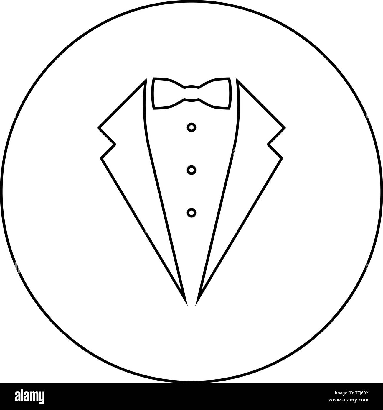 Symbol service dinner jacket bow Tuxedo concept Tux sign Butler gentleman idea Waiter suit icon in circle round outline black color vector - Stock Image