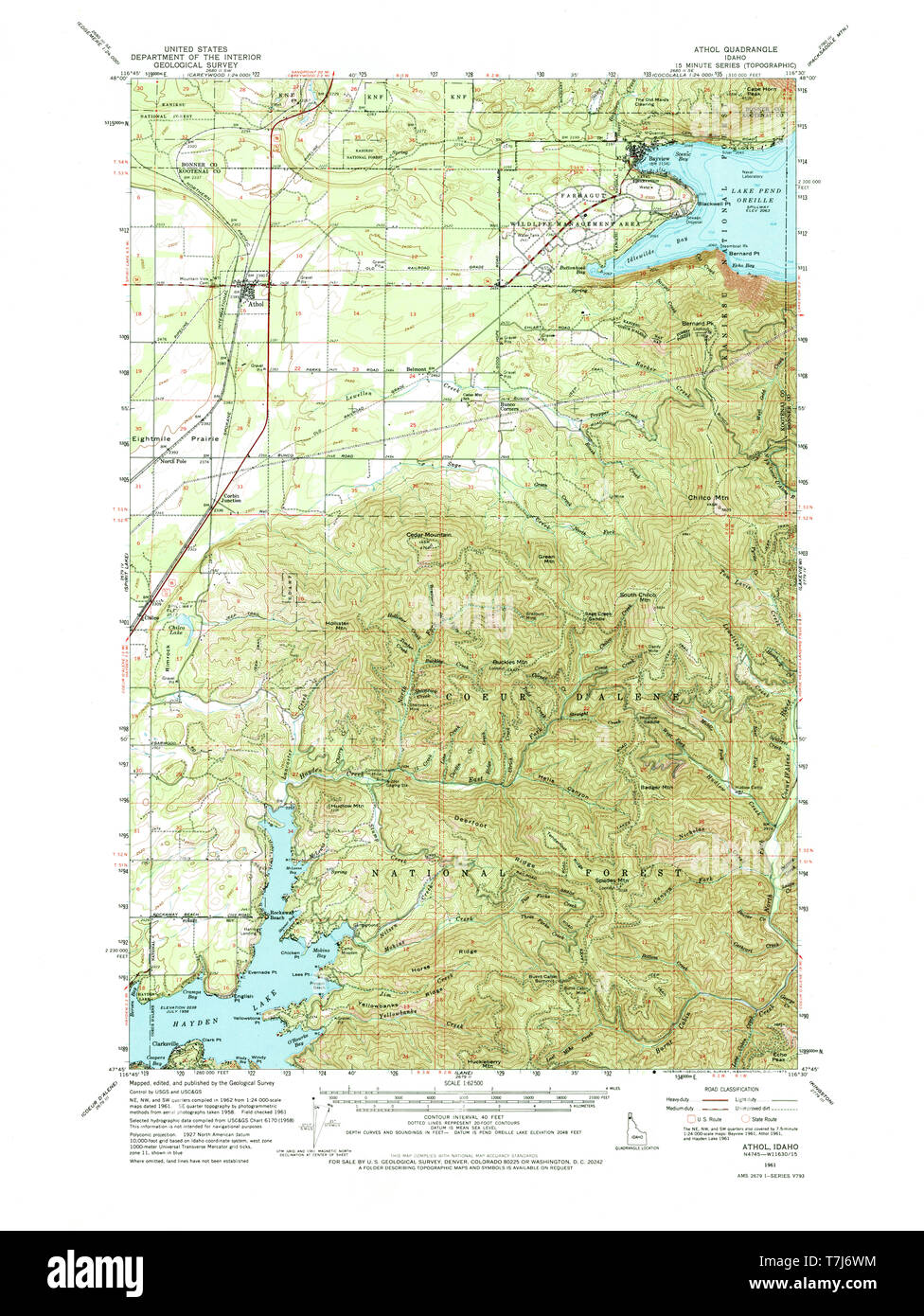 USGS TOPO Map Idaho ID Athol 238900 1961 62500 Restoration ...