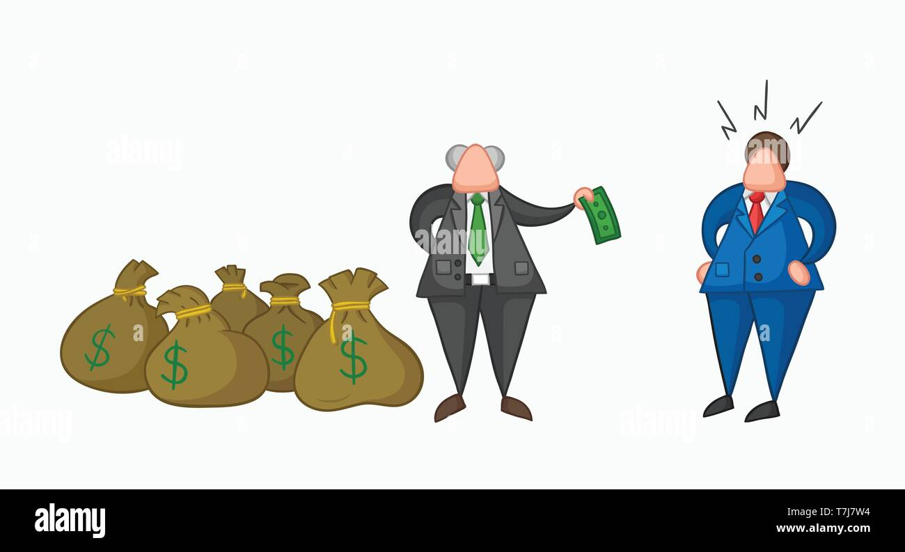 Hand-drawn vector illustration boss has a lot of money with sacks and pays one money to his businessman worker. Colored and colored outlines. - Stock Vector
