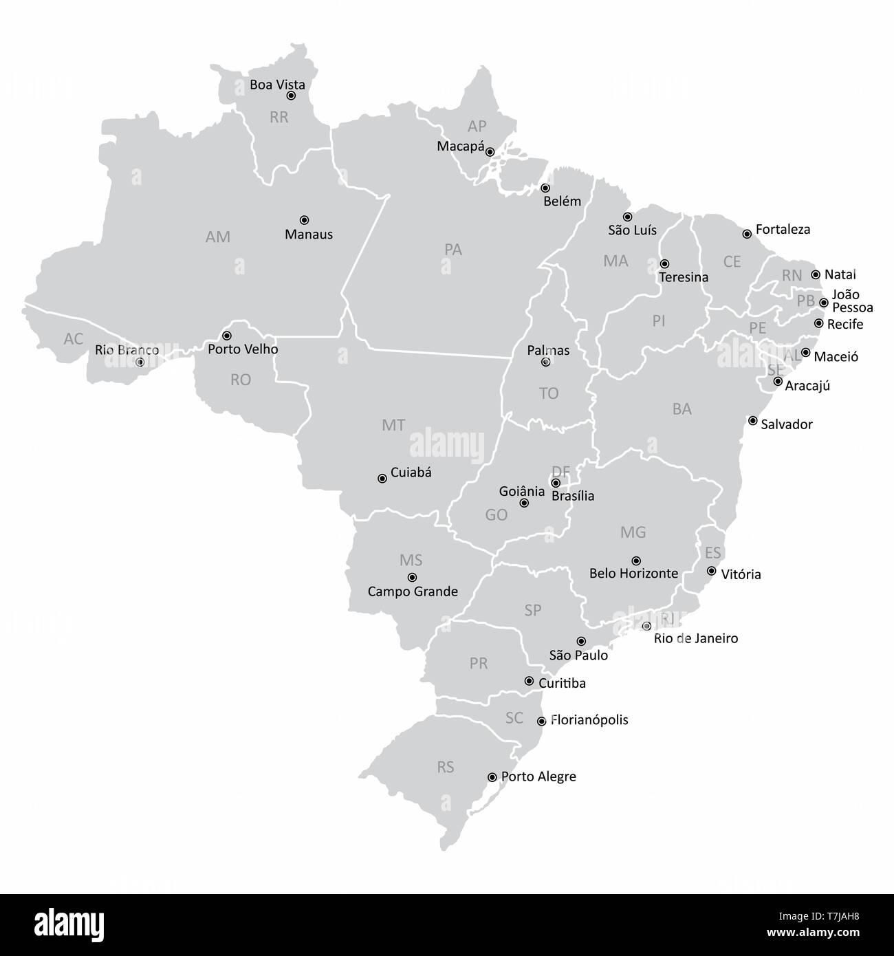 Map of Brazil with states and capitals Stock Vector Art ...