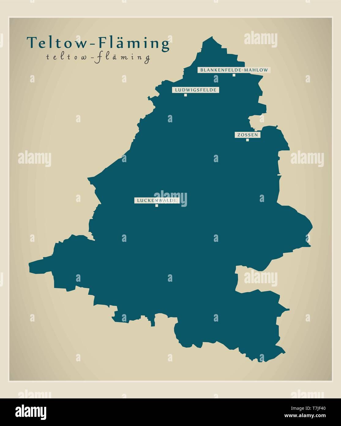 Modern Map - Teltow-Flaeming county of Brandenburg DE - Stock Image