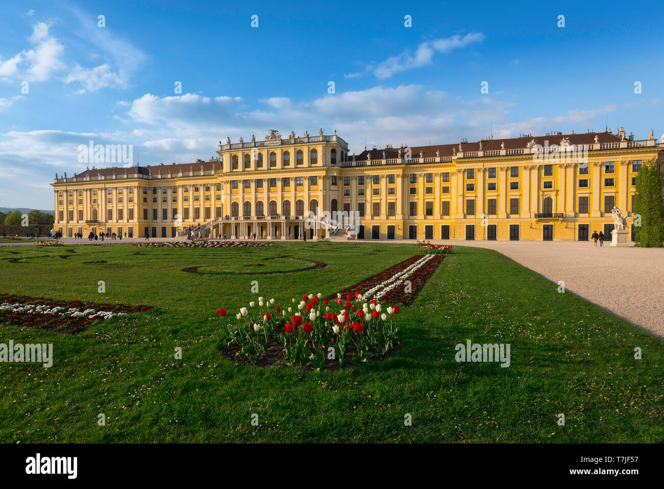 Schonbrunn Palace, view of the parterre garden and baroque exterior of the south side of the Schloss Schönbrunn in Vienna, Austria. Stock Photo