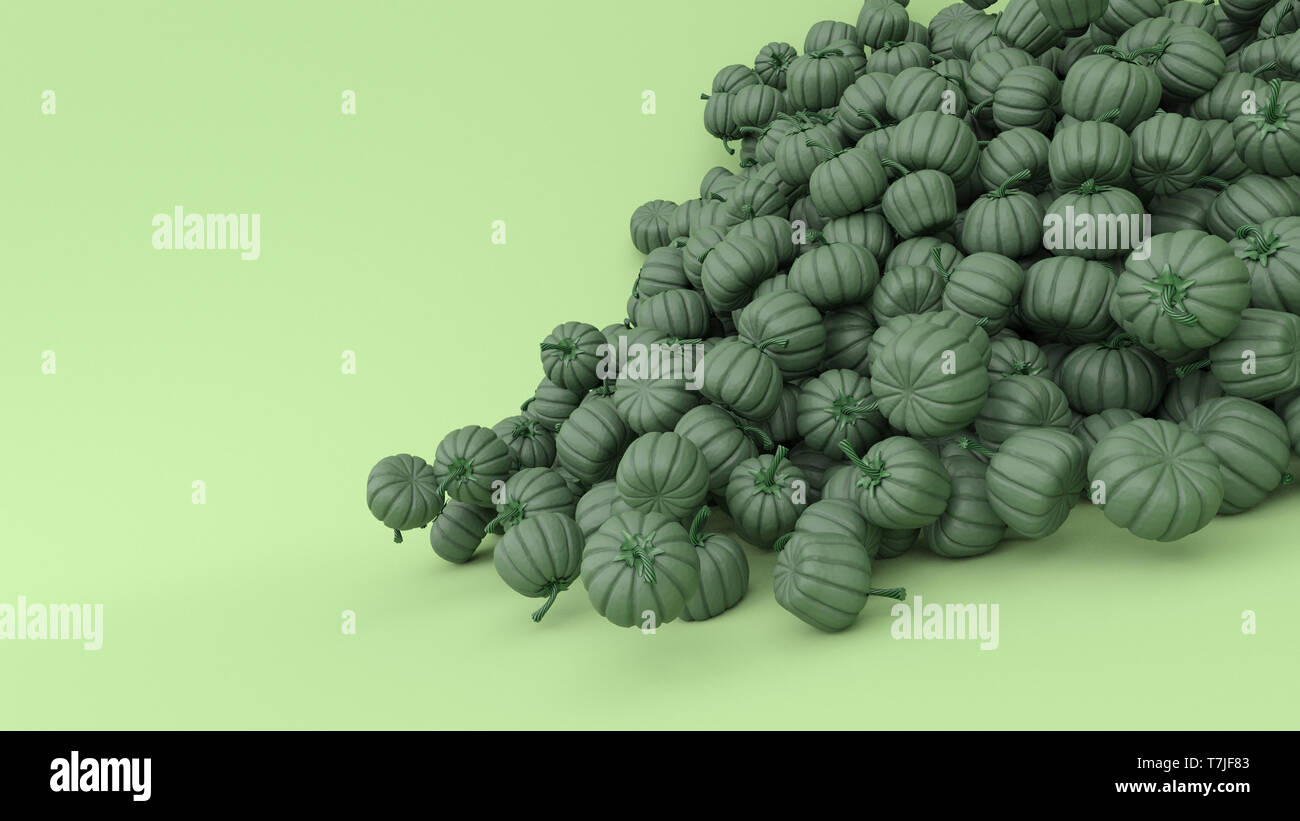 3d render of Stylised Jack-o-latern pumpkin - Stock Image