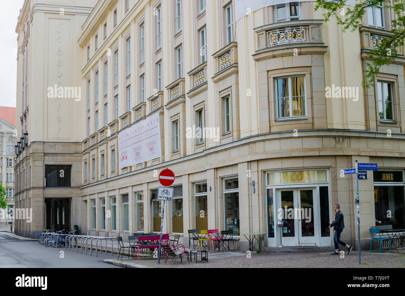 Theater Schauspiel in Leipzig, Germany. Outside low angle view - Stock Image
