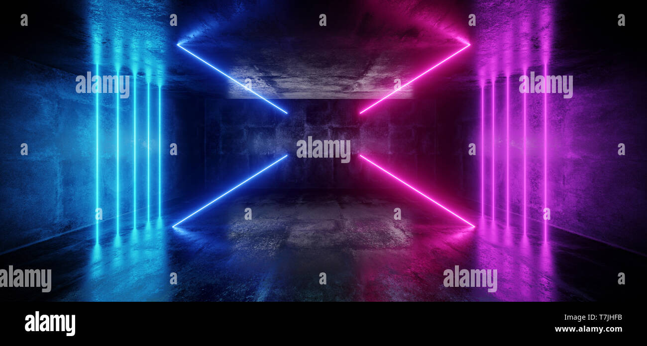 Abstract Sci Fi Neon Glowing Alien Spaceship Dark Reflective Glossy Vibrant Purple Blue Pink Room Hall