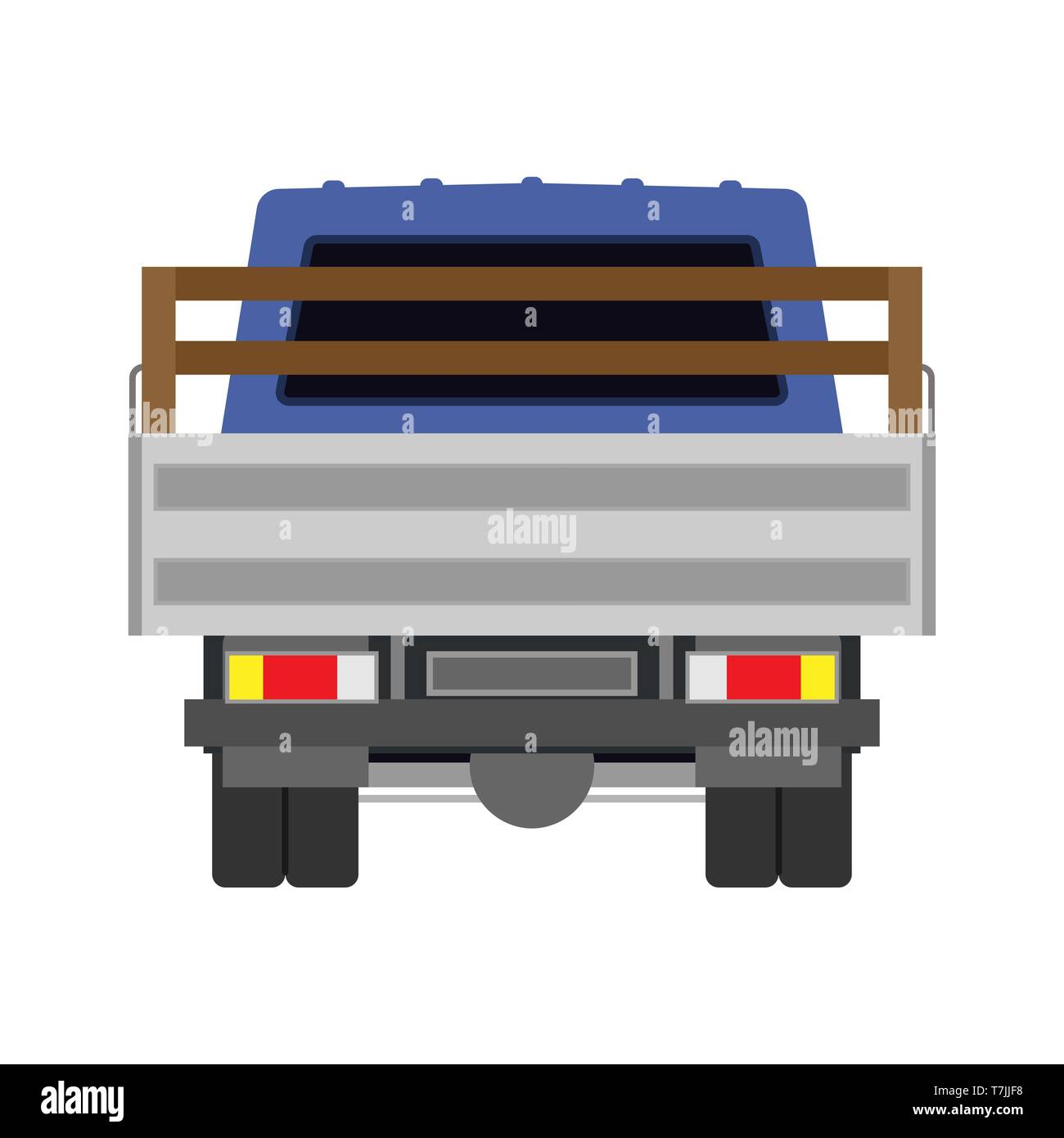 Truck vector icon back view car. Delivery isolated lorry cargo transport. Shipping vehicle van commercial. Flat industry logistic automobile - Stock Image