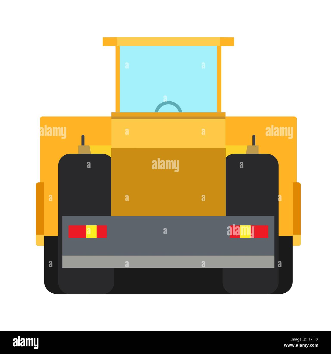 Road roller construction equipment vector icon machine asphalt. Heavy industry highway repair yellow flat truck back view - Stock Vector