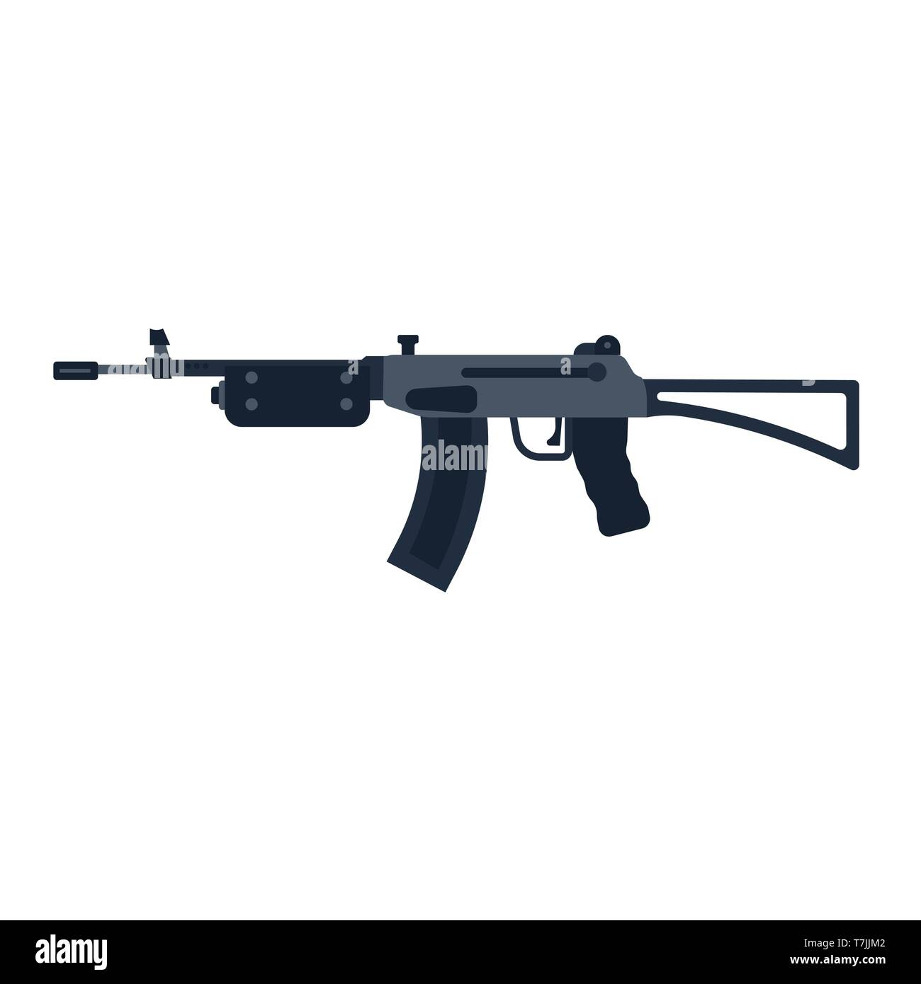 94f71f58078953 Assault rifle gun vector icon war. Black weapon military army automatic  machine. Silhouette police
