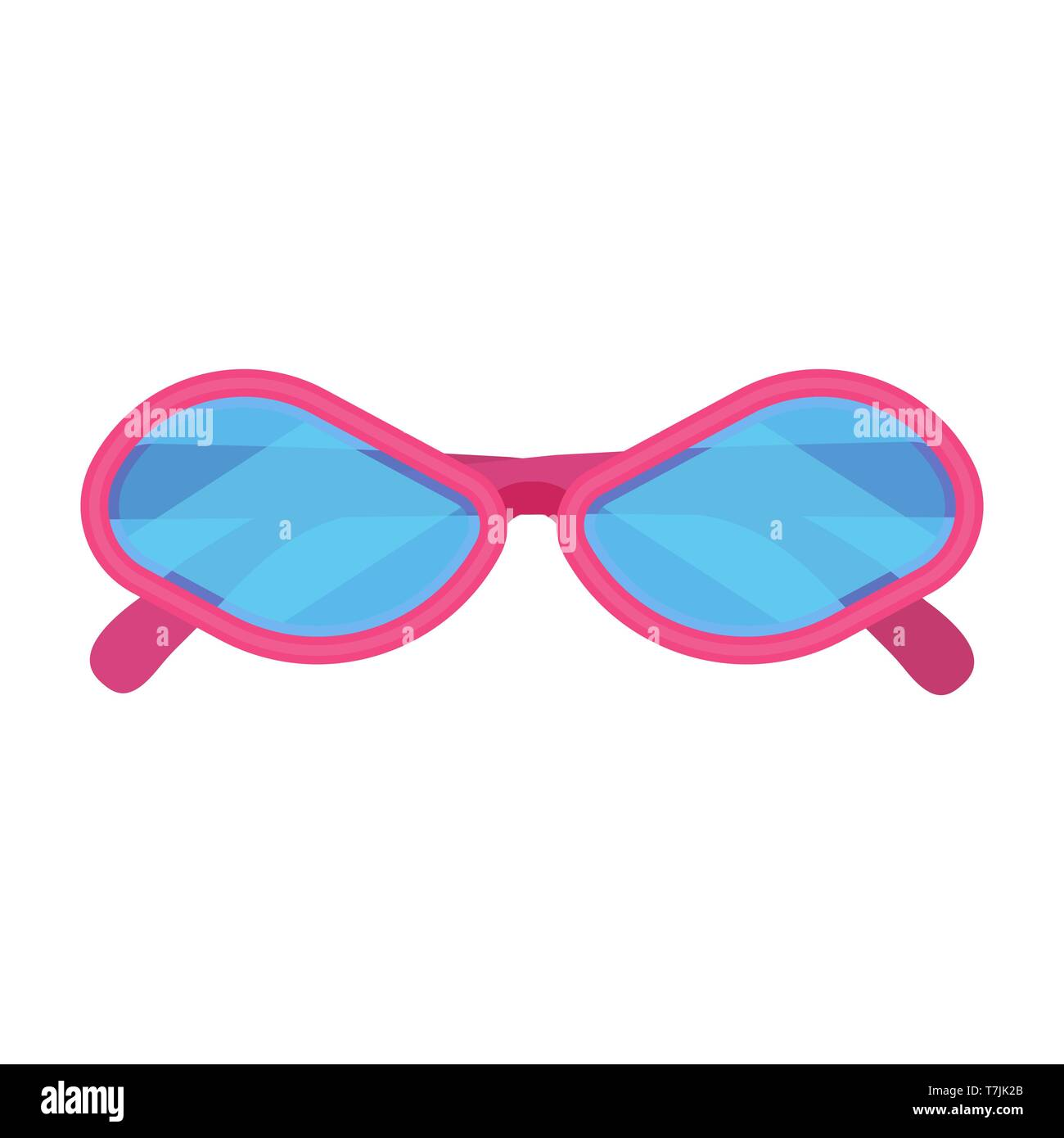 Sunglass fashion vector icon accessory pink frame. Isolated eye lens protection summer. Cartoon hipster funny vacation - Stock Vector