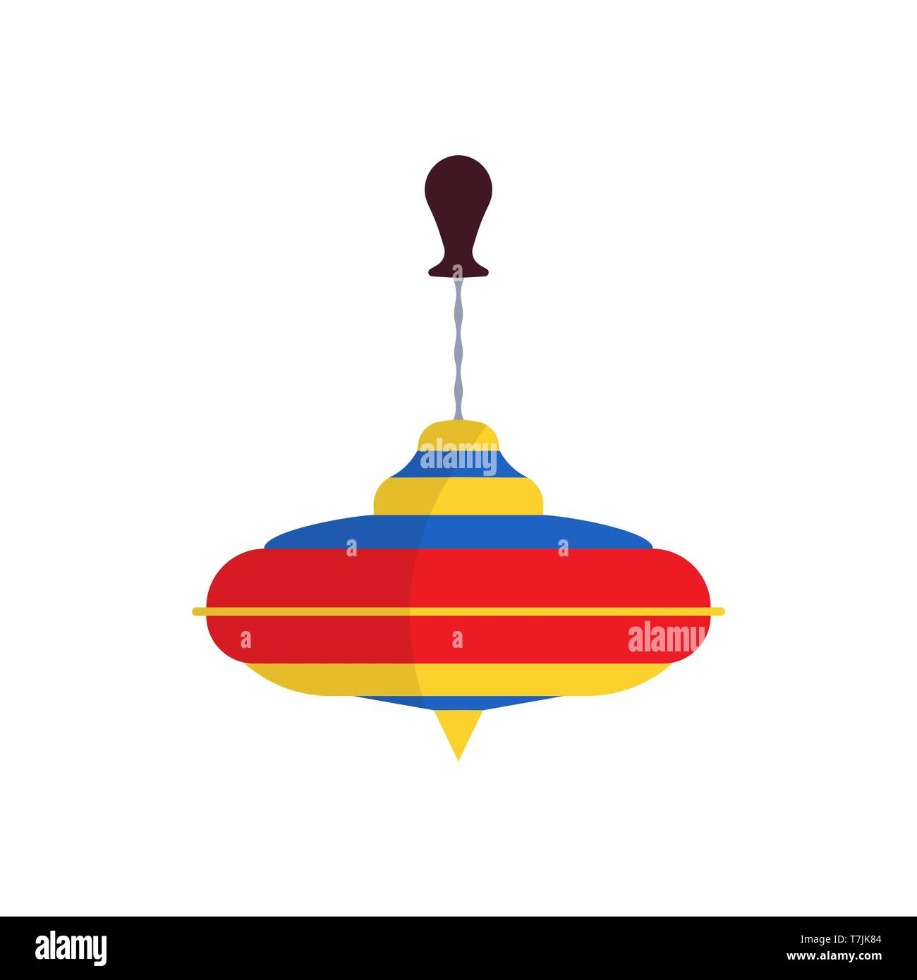 Spinning top vector flat icon toy child. Game isolated fun kid leisure cartoon plastic whirligig. Humming balance rotate baby twirl - Stock Image