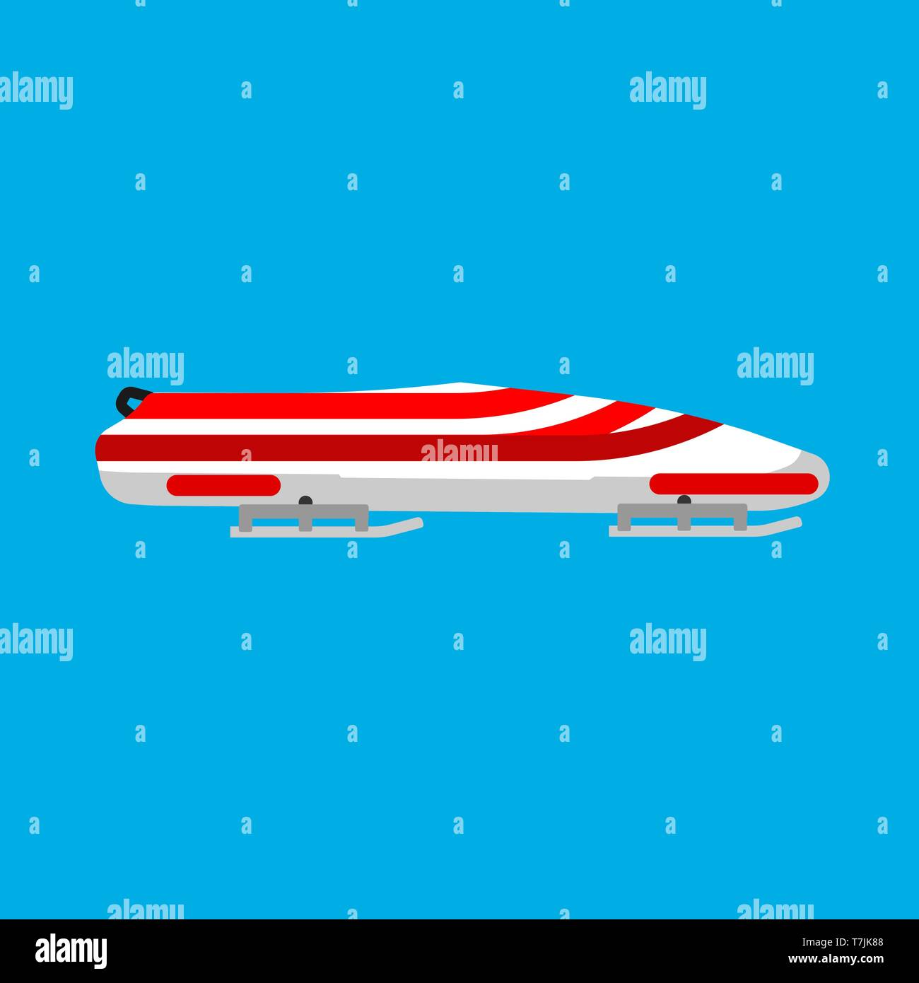 Bobsled sport vector icon winter game race. Speed snow sledge track side view flat equipment. Downhill extreme red skeleton Stock Vector