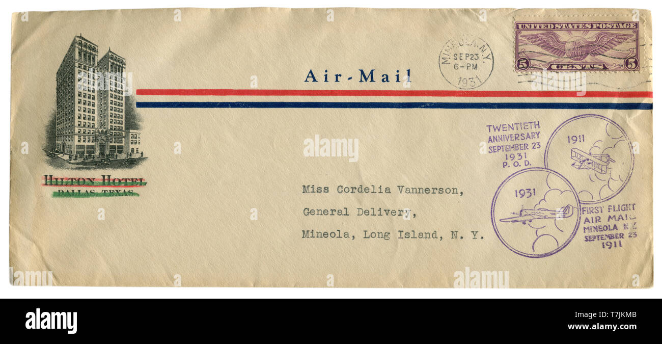 Mineola, New York, The USA  - 23 September 1931: US historical envelope: cover with cachet first flight twentieth anniversary 1911, Hilton Hotel - Stock Image