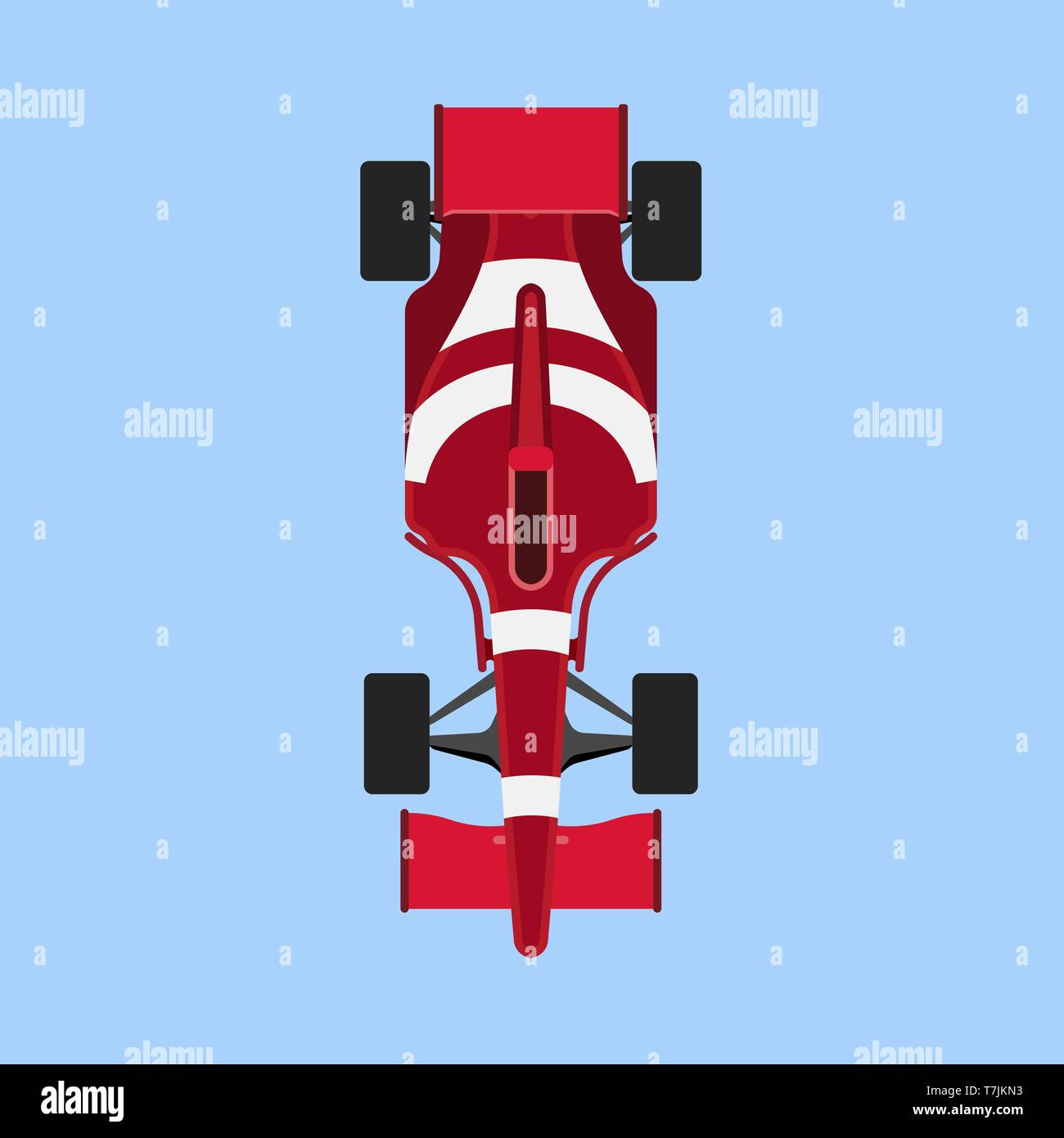 Formula 1 race car sport vector icon top view. Speed auto f1 champion red vehicle. Bolide rally prix flat game transport - Stock Vector