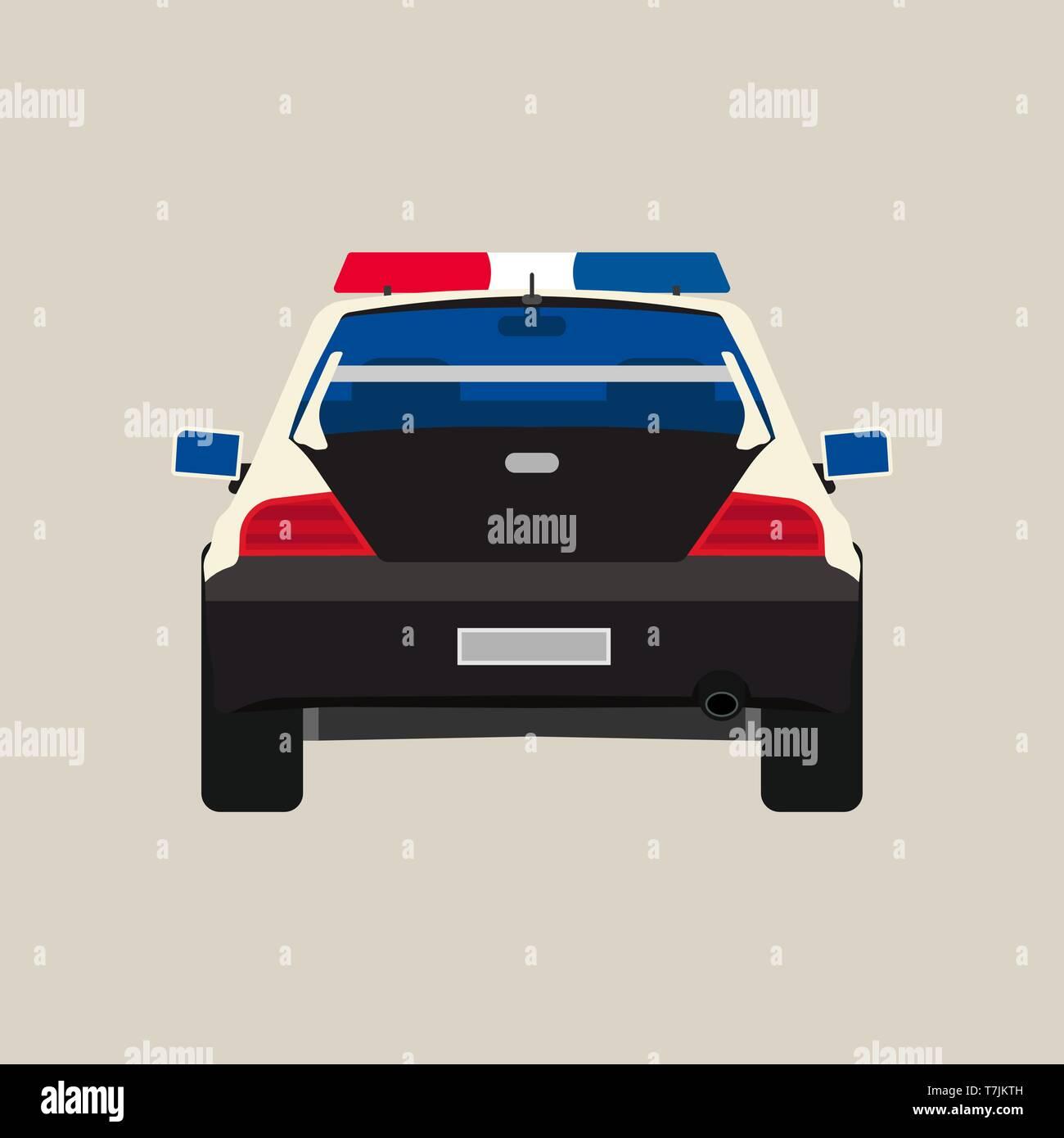 Police car back view vector flat icon. Vehicle cop isolated black patrol crime. Urban guard sheriff sedan headlight - Stock Image