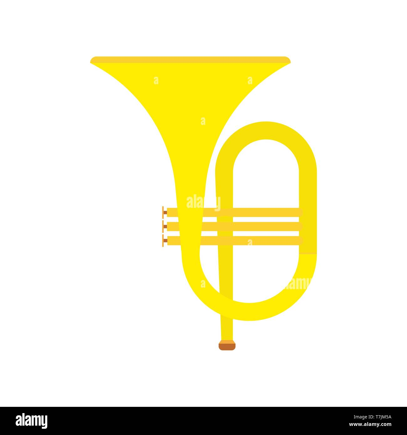 Horn instrument vector icon musical classical orchestra. Brass band cartoon acoustic golden tuba. Fanfare equipment bass - Stock Image